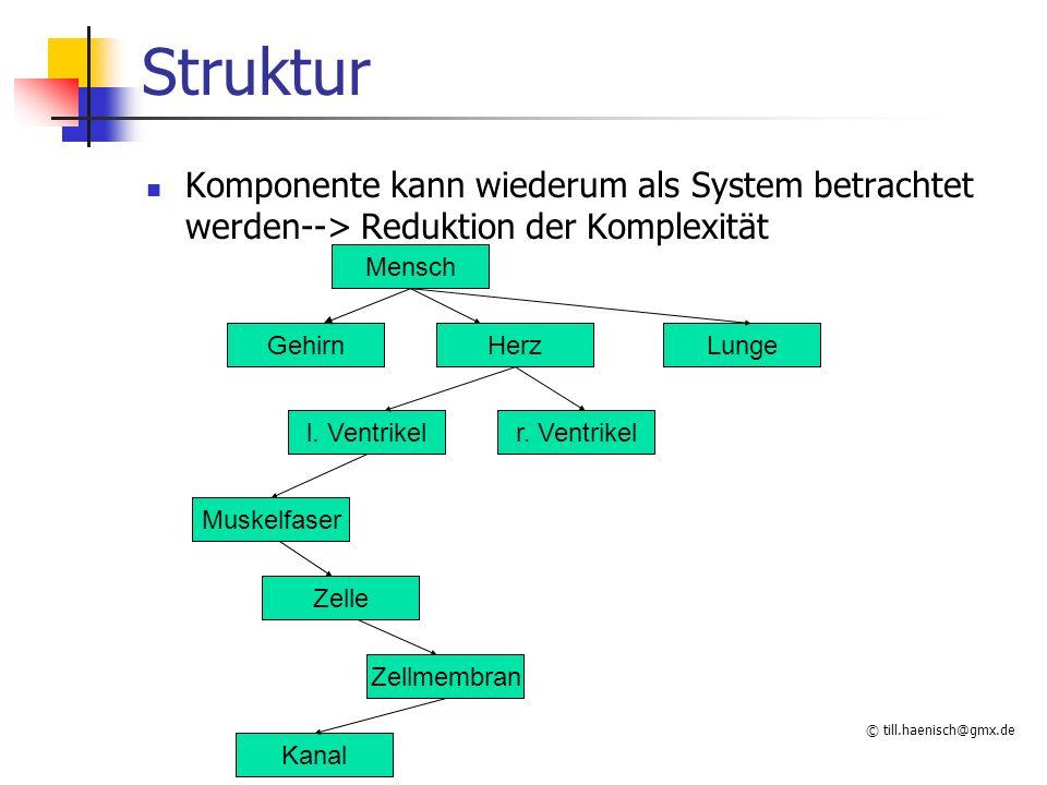 © till.haenisch@gmx.de Struktur Komponente kann wiederum als System betrachtet werden--> Reduktion der Komplexität Mensch GehirnHerzLunge l.