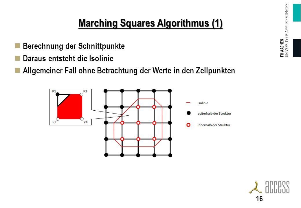 Marching Squares Algorithmus (1) Berechnung der Schnittpunkte Daraus entsteht die Isolinie Allgemeiner Fall ohne Betrachtung der Werte in den Zellpunkten 16