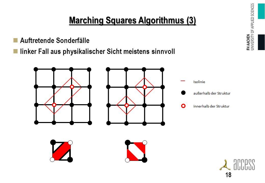 Marching Squares Algorithmus (3) Auftretende Sonderfälle linker Fall aus physikalischer Sicht meistens sinnvoll 18