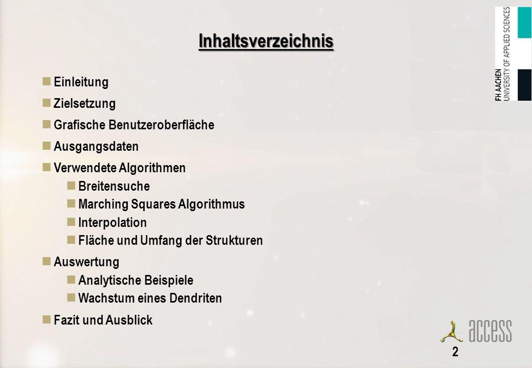 Inhaltsverzeichnis Einleitung Zielsetzung Grafische Benutzeroberfläche Ausgangsdaten Verwendete Algorithmen Breitensuche Marching Squares Algorithmus Interpolation Fläche und Umfang der Strukturen Auswertung Analytische Beispiele Wachstum eines Dendriten Fazit und Ausblick 2