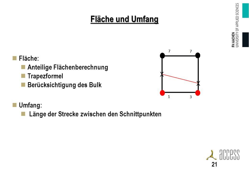 Fläche und Umfang Fläche: Anteilige Flächenberechnung Trapezformel Berücksichtigung des Bulk Umfang: Länge der Strecke zwischen den Schnittpunkten 21