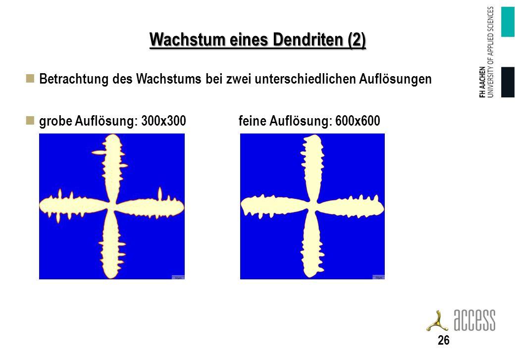 Wachstum eines Dendriten (2) Betrachtung des Wachstums bei zwei unterschiedlichen Auflösungen grobe Auflösung: 300x300 feine Auflösung: 600x600 26