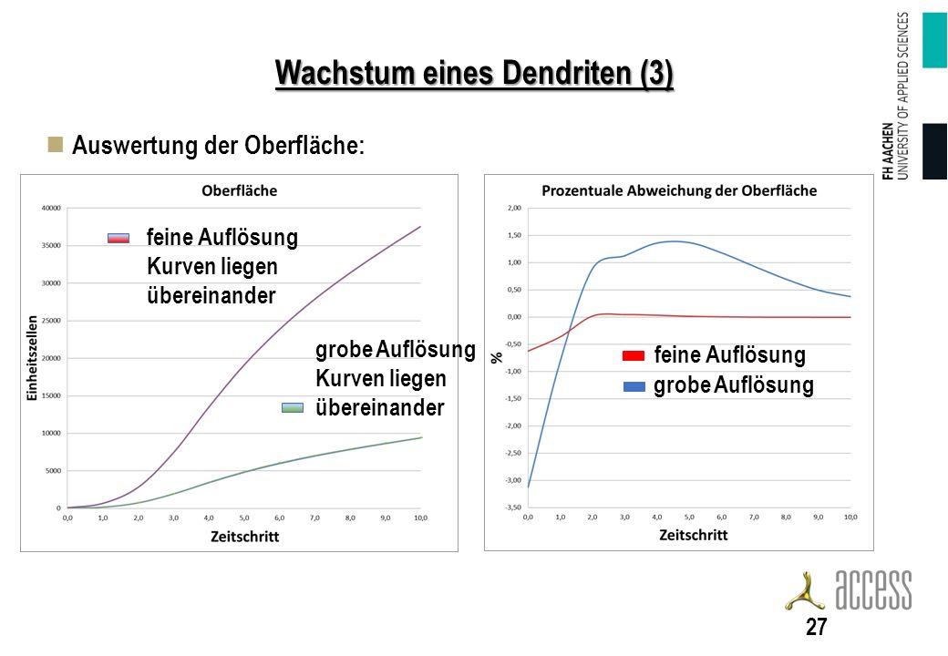 Wachstum eines Dendriten (3) Auswertung der Oberfläche: 27 feine Auflösung grobe Auflösung Kurven liegen übereinander feine Auflösung Kurven liegen übereinander