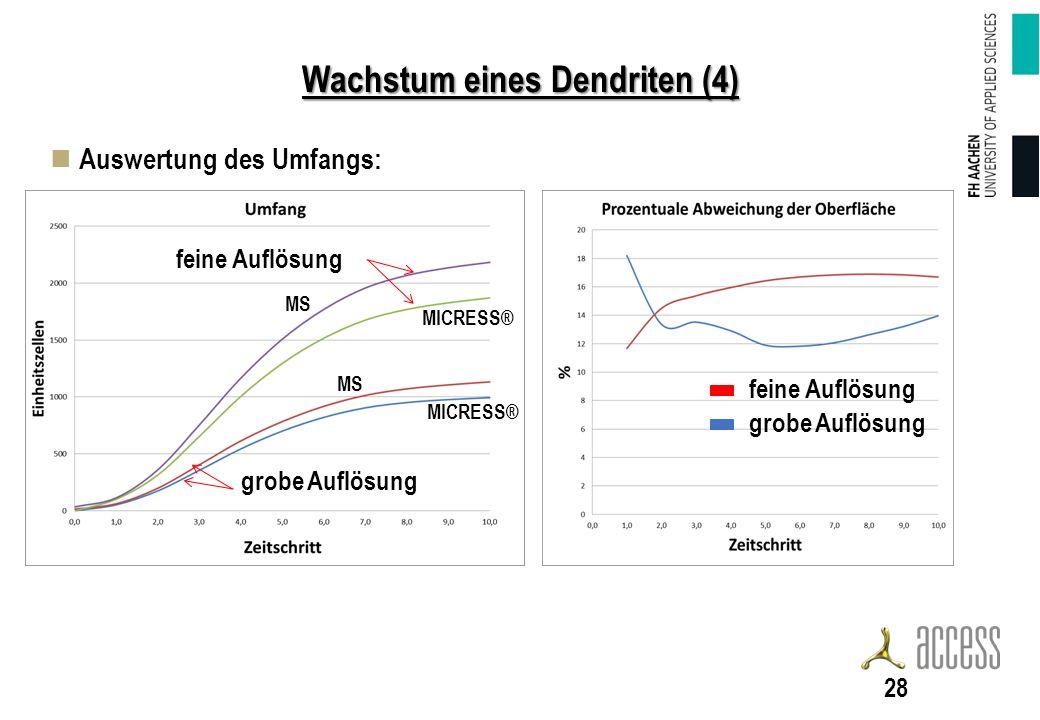 Wachstum eines Dendriten (4) Auswertung des Umfangs: 28 feine Auflösung grobe Auflösung feine Auflösung MICRESS® MS