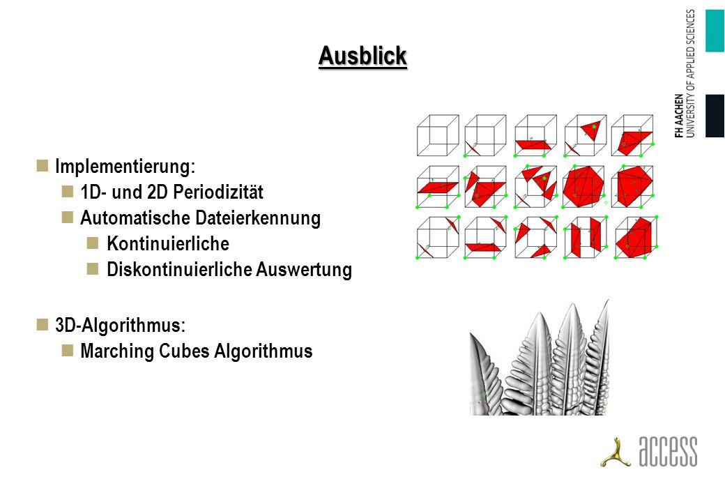 Ausblick Implementierung: 1D- und 2D Periodizität Automatische Dateierkennung Kontinuierliche Diskontinuierliche Auswertung 3D-Algorithmus: Marching Cubes Algorithmus