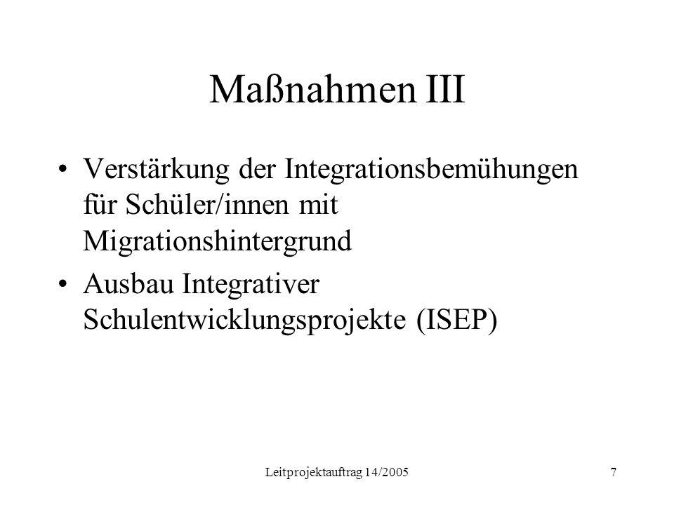 Leitprojektauftrag 14/20057 Maßnahmen III Verstärkung der Integrationsbemühungen für Schüler/innen mit Migrationshintergrund Ausbau Integrativer Schulentwicklungsprojekte (ISEP)