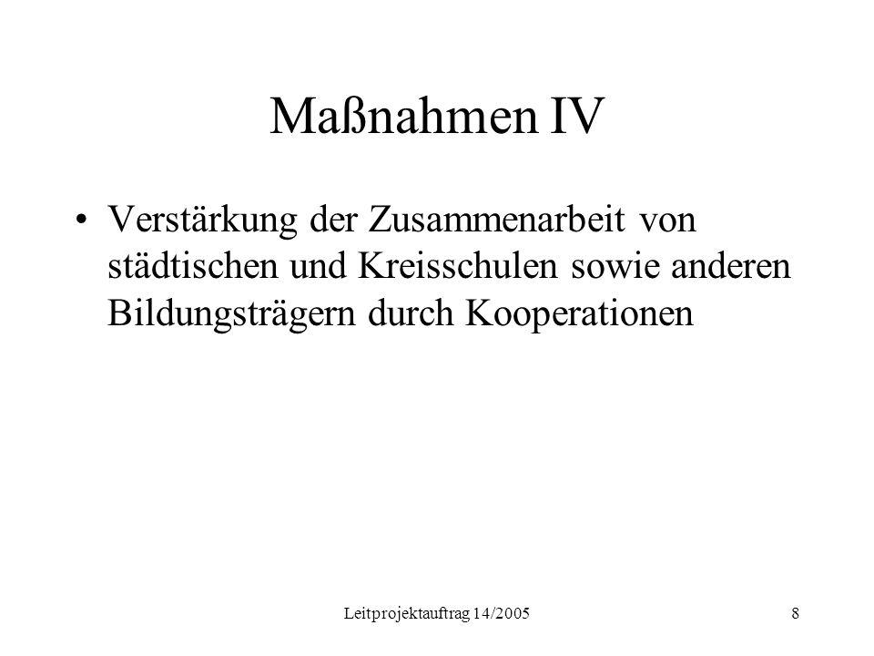 Leitprojektauftrag 14/20058 Maßnahmen IV Verstärkung der Zusammenarbeit von städtischen und Kreisschulen sowie anderen Bildungsträgern durch Kooperationen