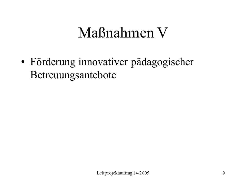 Leitprojektauftrag 14/20059 Maßnahmen V Förderung innovativer pädagogischer Betreuungsantebote