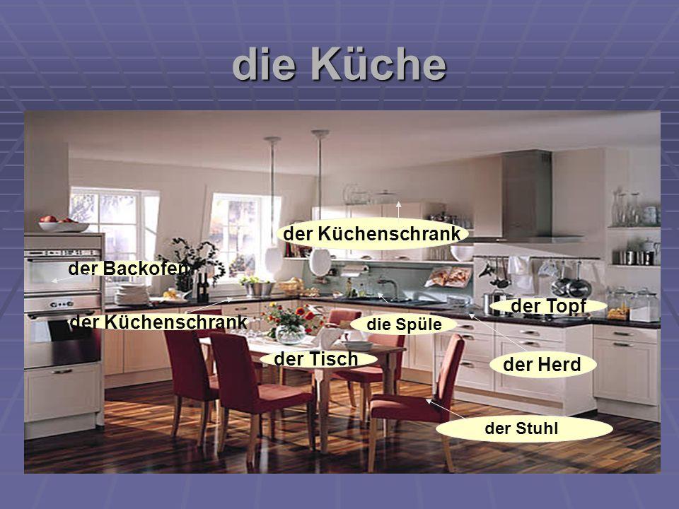 die Küche der Backofen der Herd der Küchenschrank die Spüle der Küchenschrank der Topf der Stuhl der Tisch