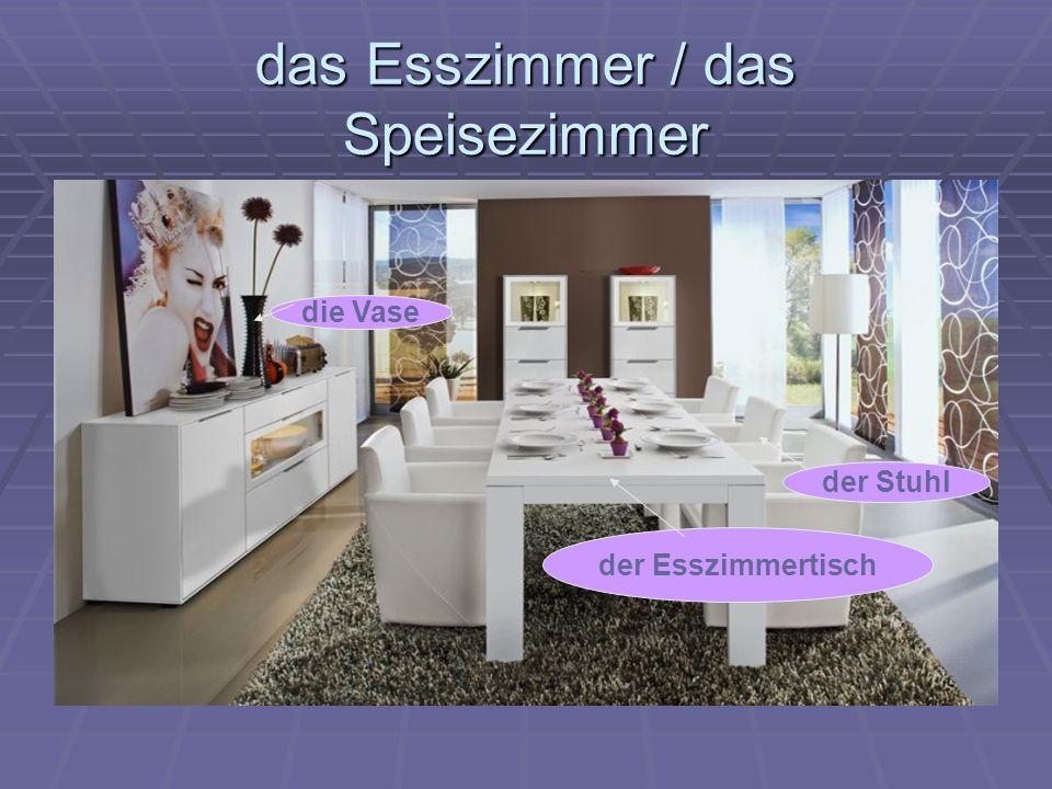 das Esszimmer / das Speisezimmer der Stuhl der Esszimmertisch die Vase