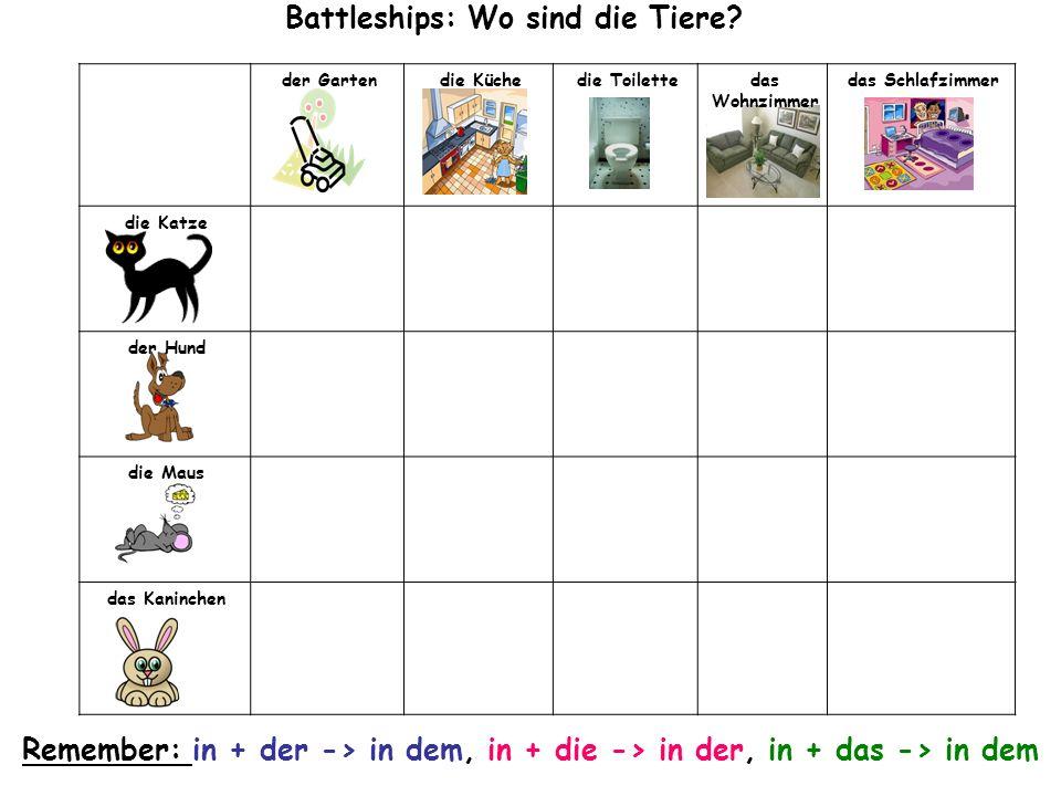 der Gartendie Küchedie Toilettedas Wohnzimmer das Schlafzimmer die Katze der Hund die Maus das Kaninchen Battleships: Wo sind die Tiere.