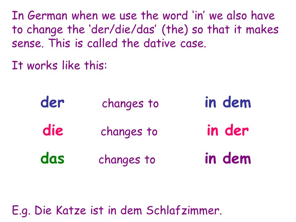 In German when we use the word 'in' we also have to change the 'der/die/das' (the) so that it makes sense. This is called the dative case. It works li