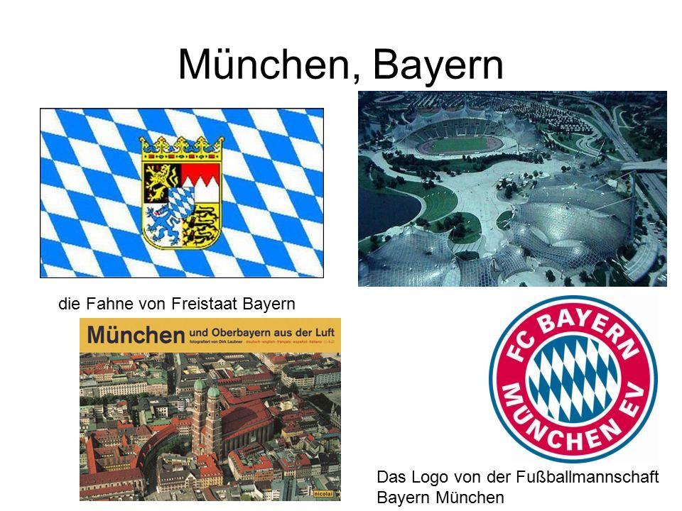 München, Bayern die Fahne von Freistaat Bayern Das Logo von der Fußballmannschaft Bayern München