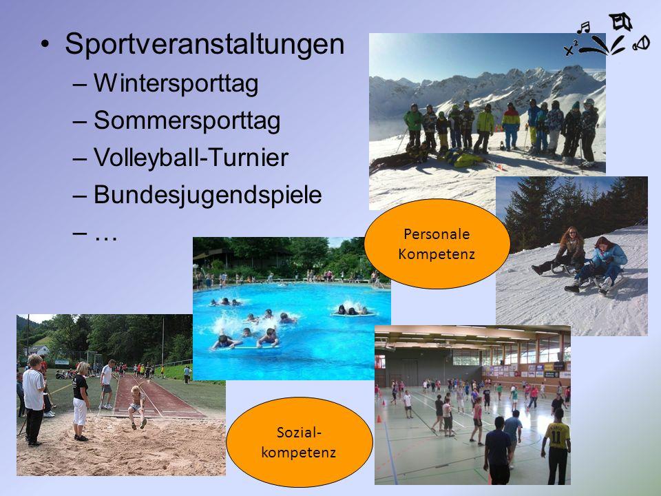 Sportveranstaltungen –Wintersporttag –Sommersporttag –Volleyball-Turnier –Bundesjugendspiele –… Sozial- kompetenz Personale Kompetenz
