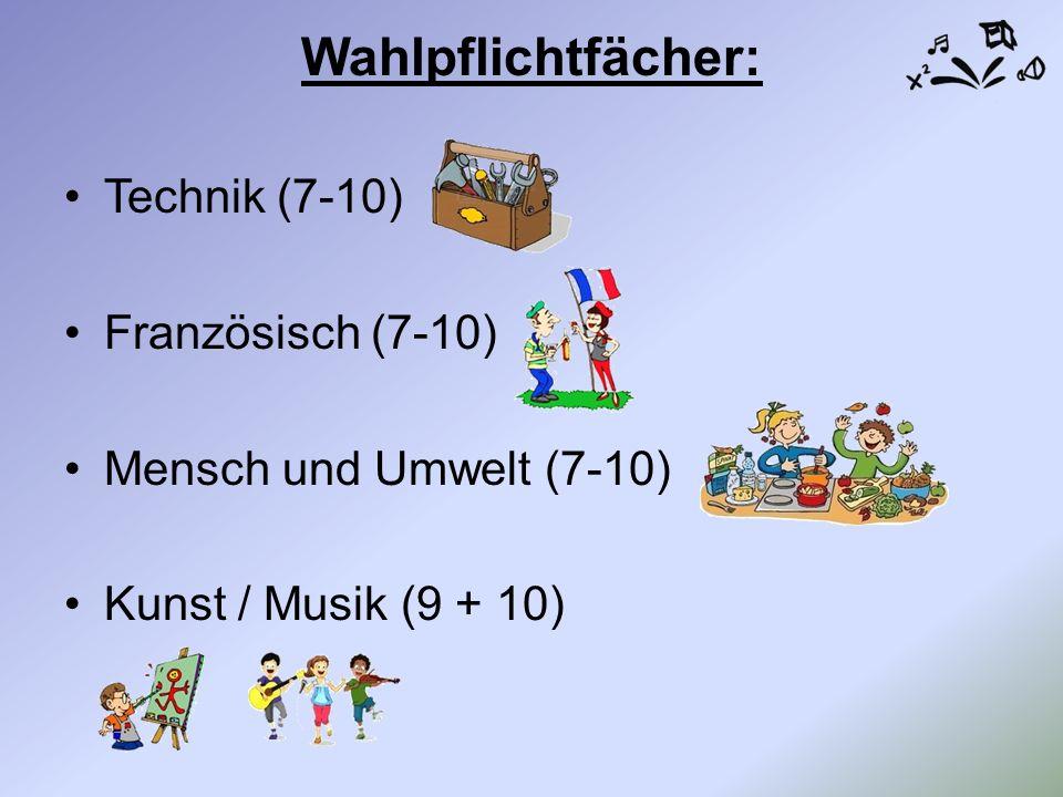 Wahlpflichtfächer: Technik (7-10) Französisch (7-10) Mensch und Umwelt (7-10) Kunst / Musik (9 + 10)