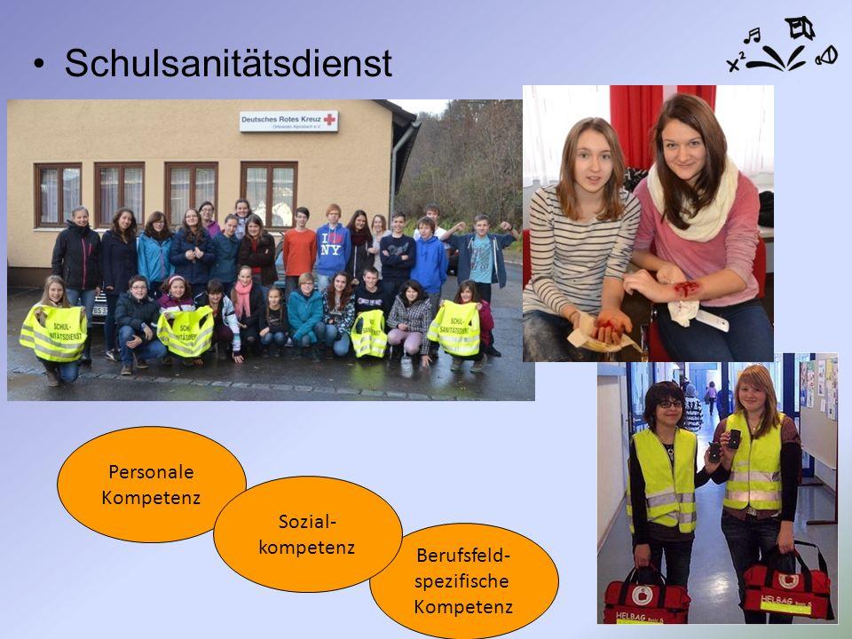 Schulsanitätsdienst Personale Kompetenz Berufsfeld- spezifische Kompetenz Sozial- kompetenz