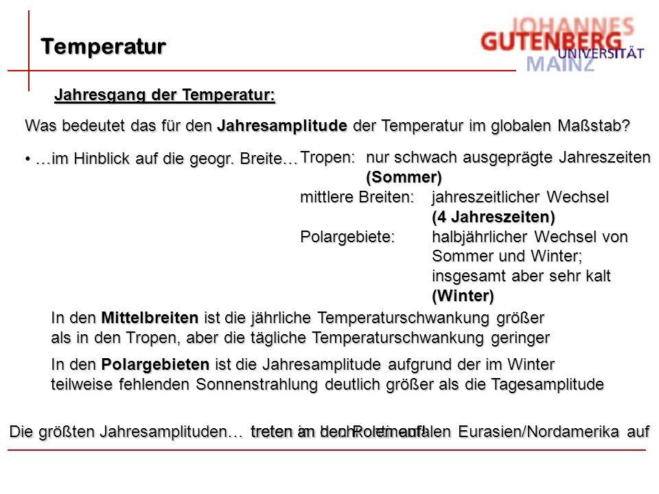 treten im hochkontinentalen Eurasien/Nordamerika auf Temperatur Jahresgang der Temperatur: Was bedeutet das für den Jahresamplitude der Temperatur im globalen Maßstab.