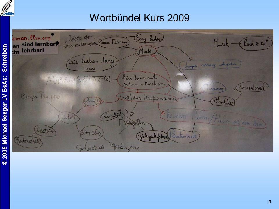 © 2009 Michael Seeger LV BsAs: Schreiben 3 Wortbündel Kurs 2009
