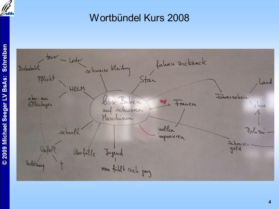© 2009 Michael Seeger LV BsAs: Schreiben 4 Wortbündel Kurs 2008