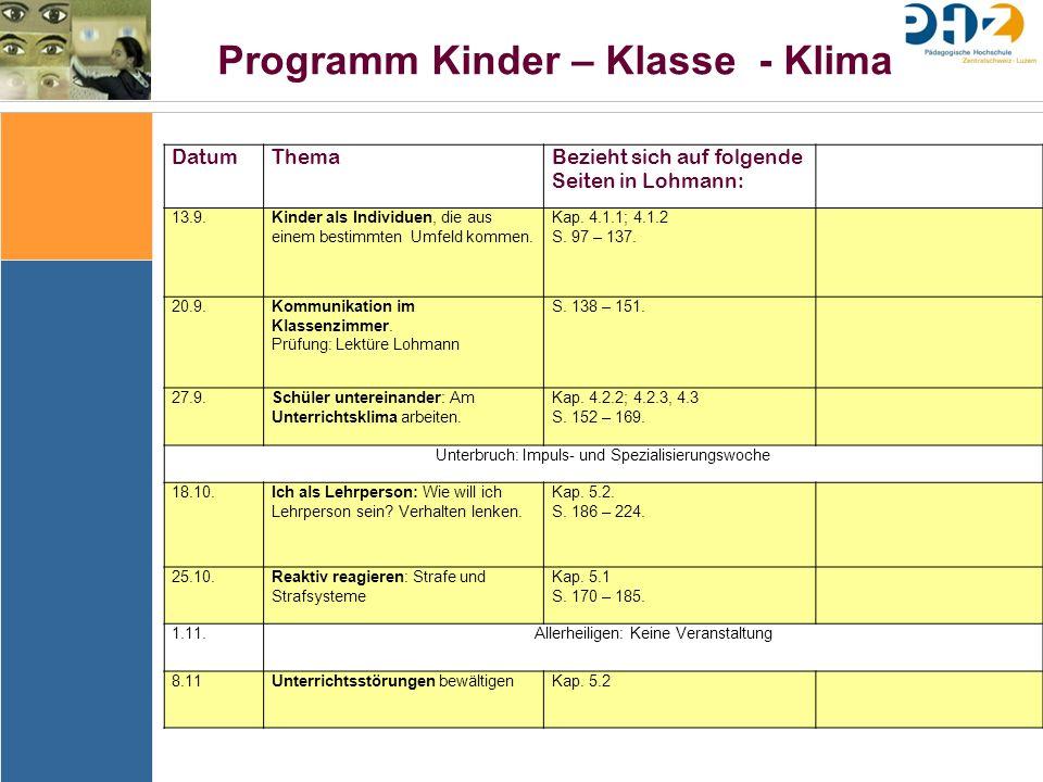 Programm Kinder – Klasse - Klima DatumThemaBezieht sich auf folgende Seiten in Lohmann: 13.9.Kinder als Individuen, die aus einem bestimmten Umfeld kommen.