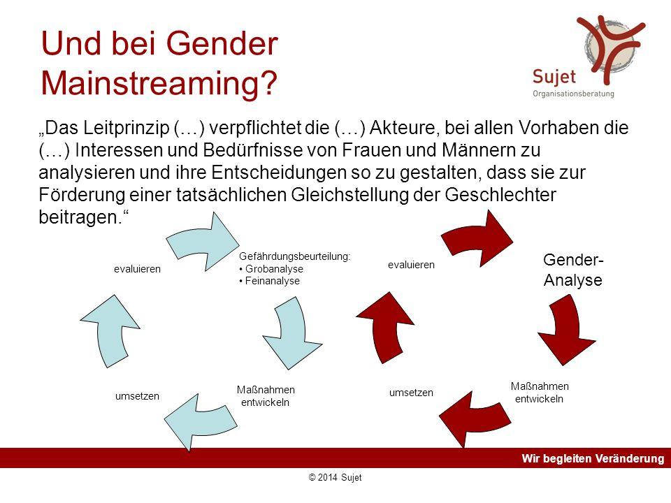 """Wir begleiten Veränderung Und bei Gender Mainstreaming? """"Das Leitprinzip (…) verpflichtet die (…) Akteure, bei allen Vorhaben die (…) Interessen und B"""