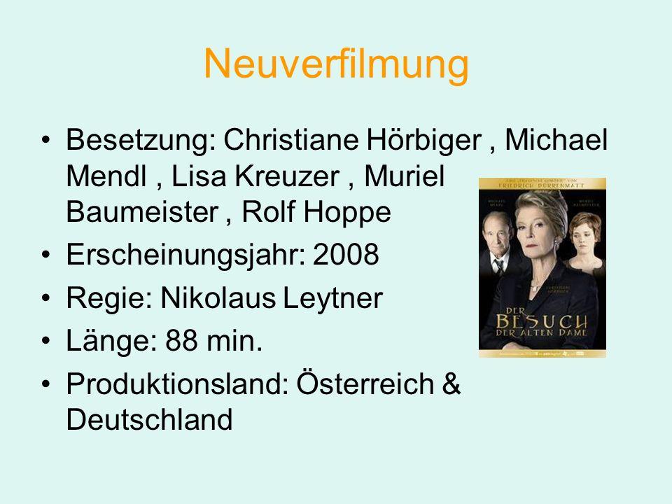 Neuverfilmung Besetzung: Christiane Hörbiger, Michael Mendl, Lisa Kreuzer, Muriel Baumeister, Rolf Hoppe Erscheinungsjahr: 2008 Regie: Nikolaus Leytner Länge: 88 min.