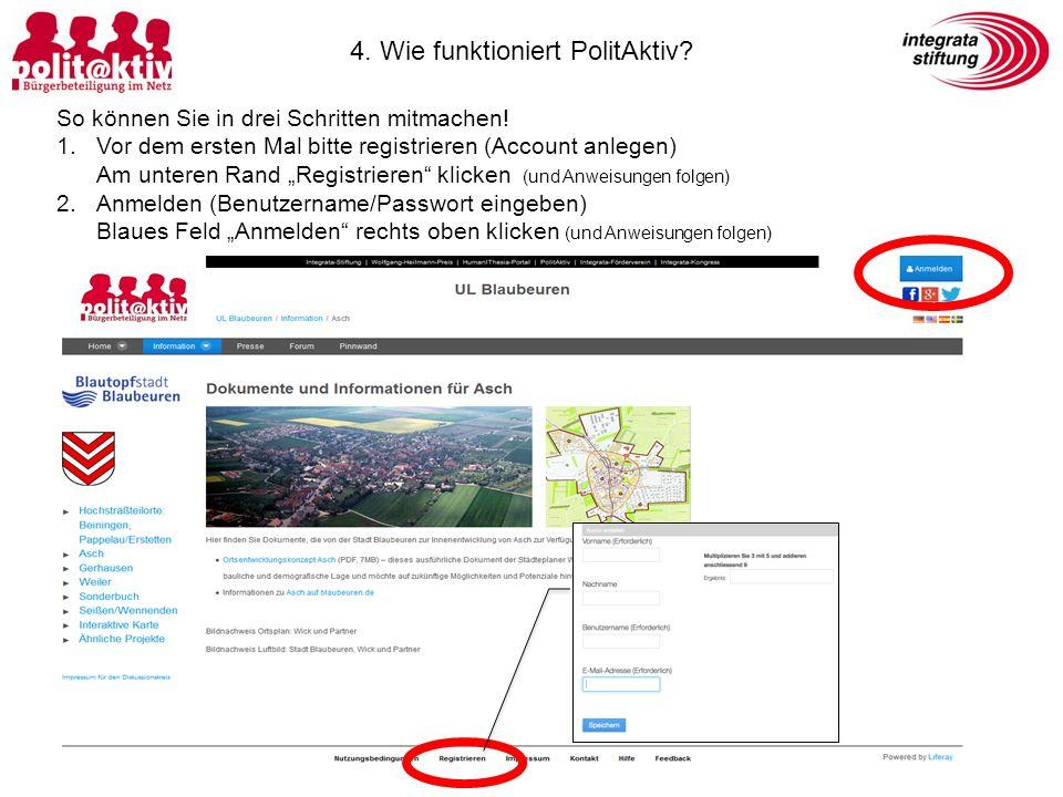 """So können Sie in drei Schritten mitmachen! 1.Vor dem ersten Mal bitte registrieren (Account anlegen) Am unteren Rand """"Registrieren"""" klicken (und Anwei"""