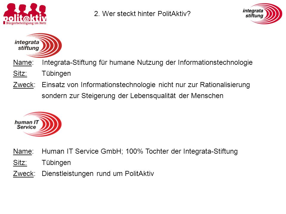 2. Wer steckt hinter PolitAktiv? Name: Integrata-Stiftung für humane Nutzung der Informationstechnologie Sitz:Tübingen Zweck: Einsatz von Informations
