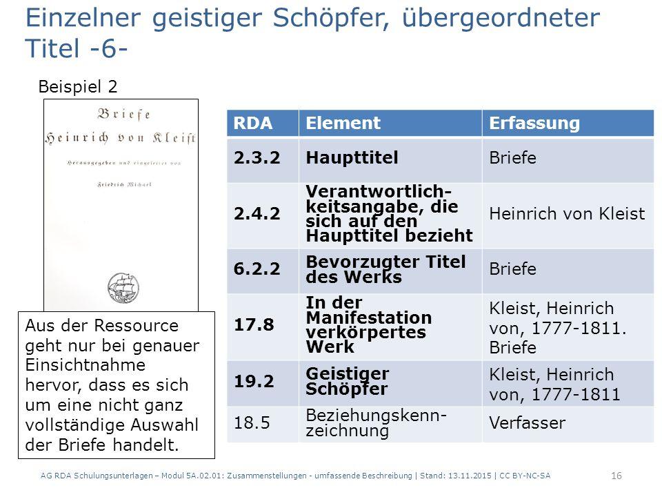 RDAElementErfassung 2.3.2HaupttitelBriefe 2.4.2 Verantwortlich- keitsangabe, die sich auf den Haupttitel bezieht Heinrich von Kleist 6.2.2 Bevorzugter Titel des Werks Briefe 17.8 In der Manifestation verkörpertes Werk Kleist, Heinrich von, 1777-1811.