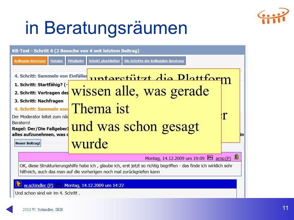 2013 W. Schindler, IKB 11 in Beratungsräumen unterstützt die Plattform die Moderation, entlang der Schritte der kollegialen Beratung wissen alle, was