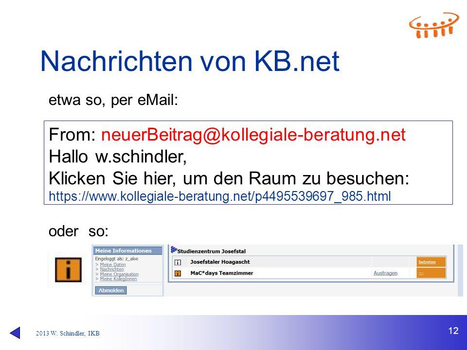 2013 W. Schindler, IKB Nachrichten von KB.net 12 From: neuerBeitrag@kollegiale-beratung.net Hallo w.schindler, Klicken Sie hier, um den Raum zu besuch
