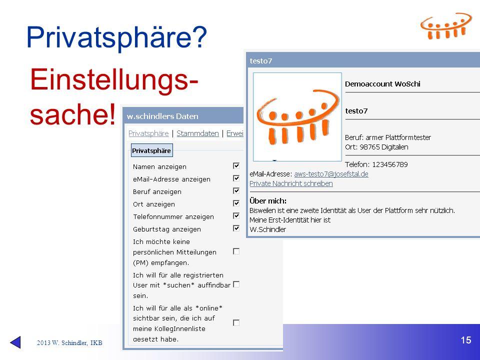 2013 W. Schindler, IKB Privatsphäre? 15 Einstellungs- sache!
