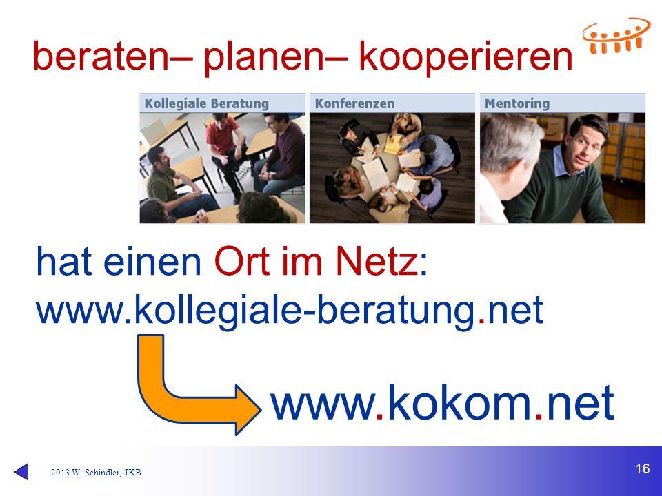 2013 W. Schindler, IKB beraten– planen– kooperieren 16 hat einen Ort im Netz: www.kollegiale-beratung.net www.kokom.net