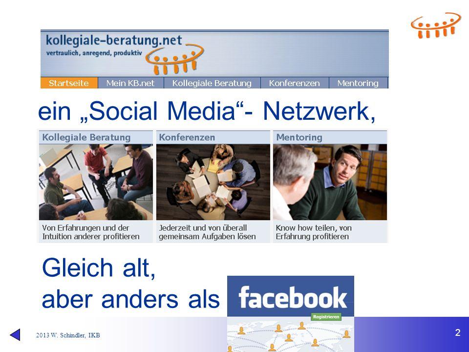 """2013 W. Schindler, IKB 2 ein """"Social Media""""- Netzwerk, Gleich alt, aber anders als"""