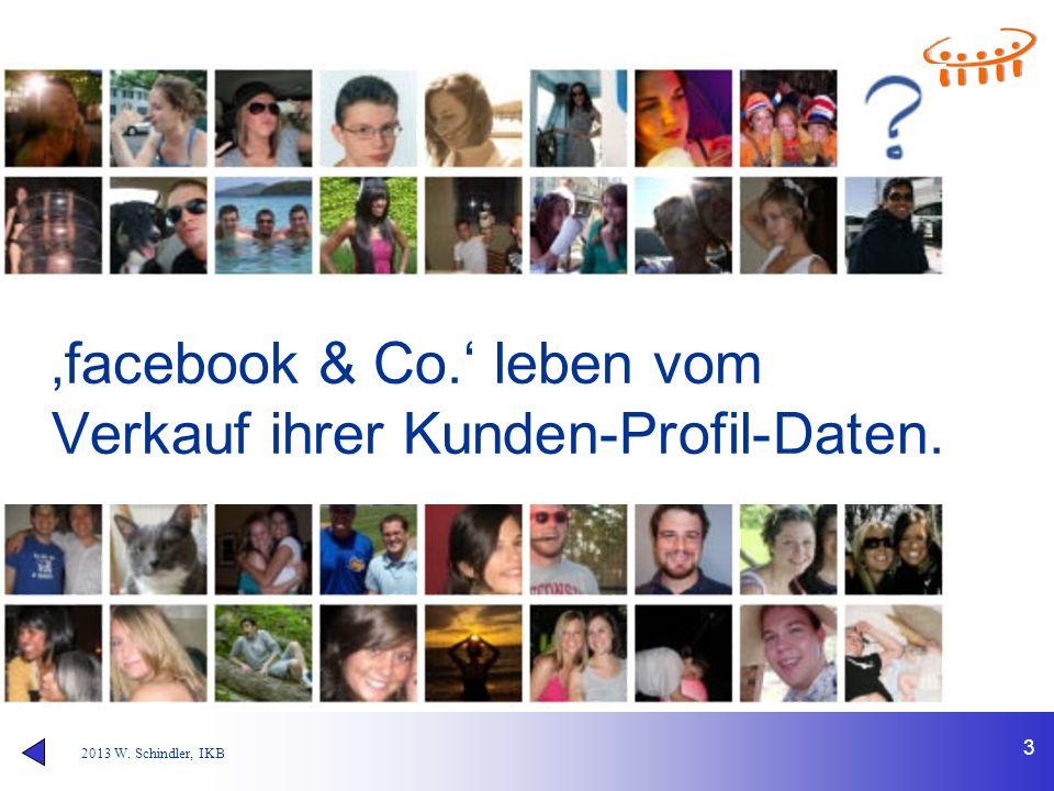 """2013 W. Schindler, IKB 3 479 """"Freunde"""" gleichzeitig erreichst Du nur mit facebook & Co. 'facebook & Co.' leben vom Verkauf ihrer Kunden-Profil-Daten."""