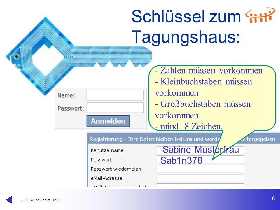 2013 W. Schindler, IKB 6 Schlüssel zum Tagungshaus: Beim ersten Mal kostenlos registrieren. - Zahlen müssen vorkommen - Kleinbuchstaben müssen vorkomm