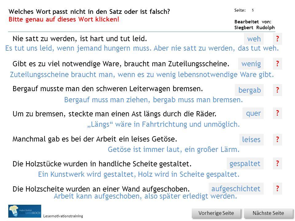 Übungsart: Seite: Bearbeitet von: Siegbert Rudolph Lesemotivationstraining 4 Welches Wort passt nicht in die Reihe? Bitte genau auf dieses Wort klicke