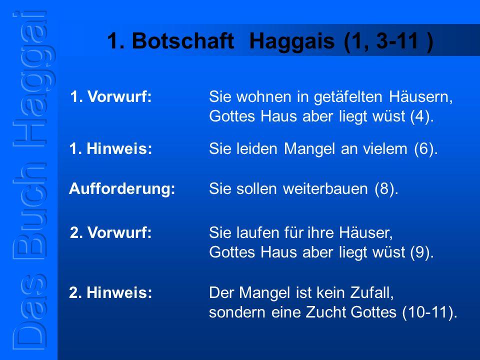 1. Botschaft Haggais (1, 3-11 ) 1. Vorwurf: Sie wohnen in getäfelten Häusern, Gottes Haus aber liegt wüst (4). 1. Hinweis: Sie leiden Mangel an vielem