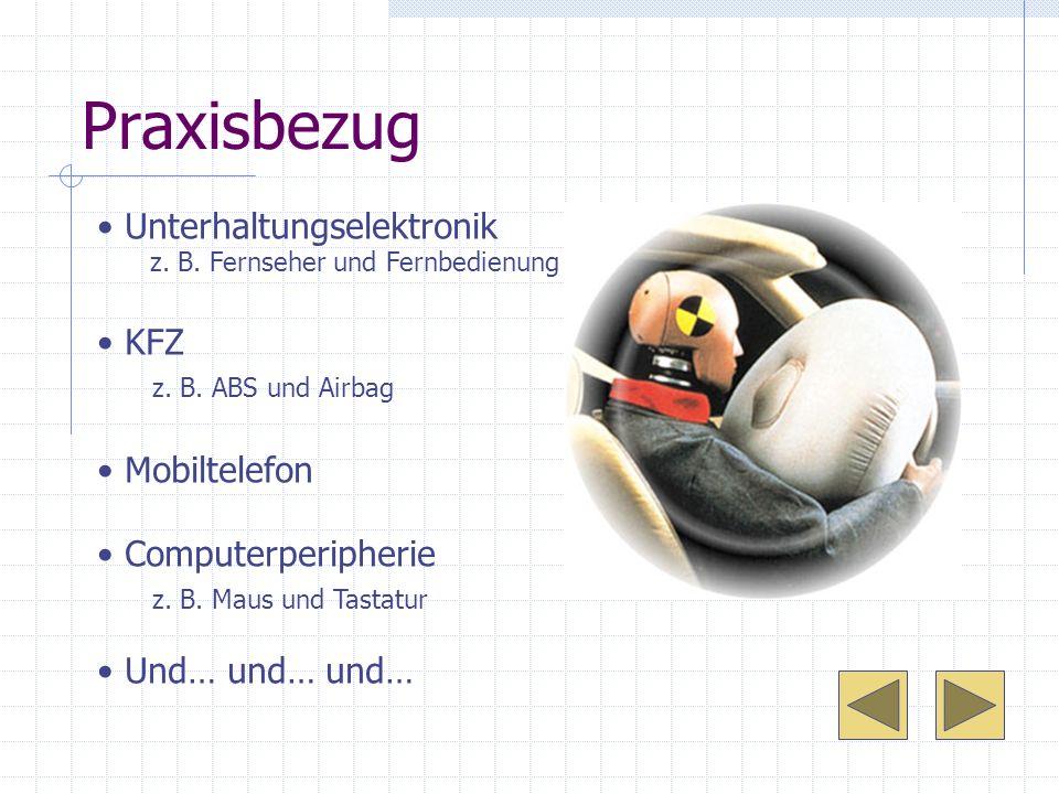 Praxisbezug Unterhaltungselektronik z. B. Fernseher und Fernbedienung KFZ z. B. ABS und Airbag Mobiltelefon Computerperipherie z. B. Maus und Tastatur