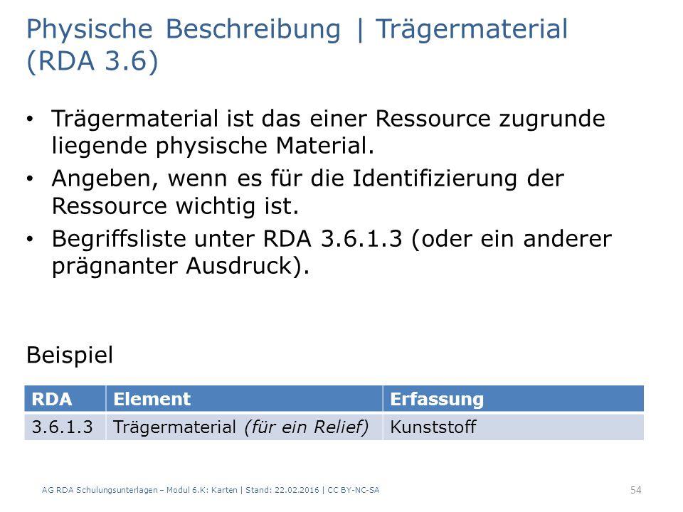 AG RDA Schulungsunterlagen – Modul 6.K: Karten | Stand: 22.02.2016 | CC BY-NC-SA 54 Physische Beschreibung | Trägermaterial (RDA 3.6) Trägermaterial i
