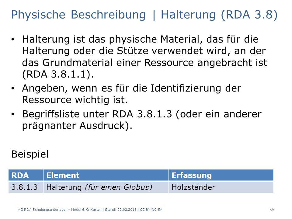AG RDA Schulungsunterlagen – Modul 6.K: Karten | Stand: 22.02.2016 | CC BY-NC-SA 55 Physische Beschreibung | Halterung (RDA 3.8) Halterung ist das phy