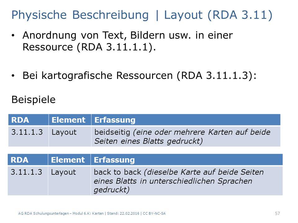 AG RDA Schulungsunterlagen – Modul 6.K: Karten | Stand: 22.02.2016 | CC BY-NC-SA 57 Physische Beschreibung | Layout (RDA 3.11) Anordnung von Text, Bil