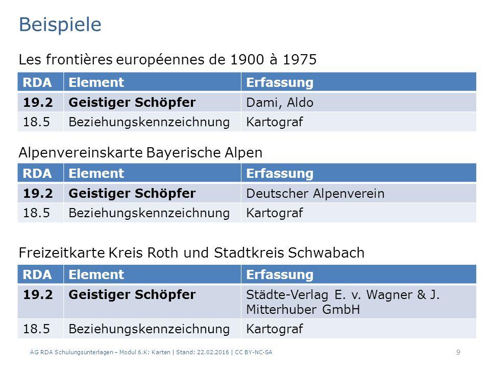 AG RDA Schulungsunterlagen – Modul 6.K: Karten | Stand: 22.02.2016 | CC BY-NC-SA 9 Les frontières européennes de 1900 à 1975 RDAElementErfassung 19.2G