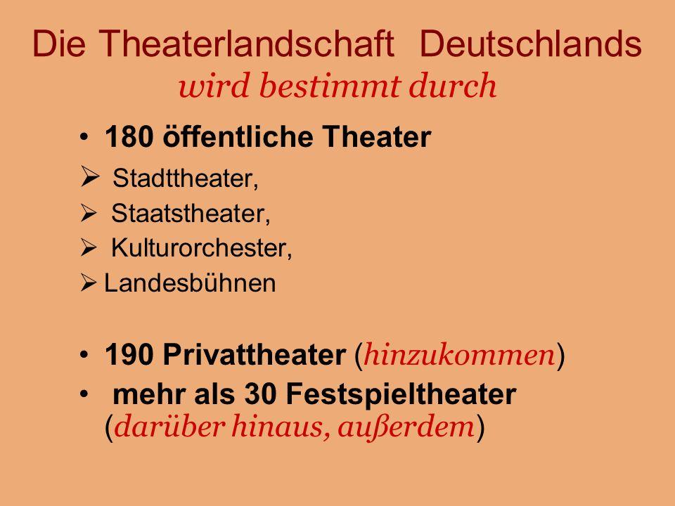 Die Theaterlandschaft Deutschlands wird bestimmt durch 180 öffentliche Theater  Stadttheater,  Staatstheater,  Kulturorchester,  Landesbühnen 190 Privattheater ( hinzukommen ) mehr als 30 Festspieltheater ( darüber hinaus, außerdem )