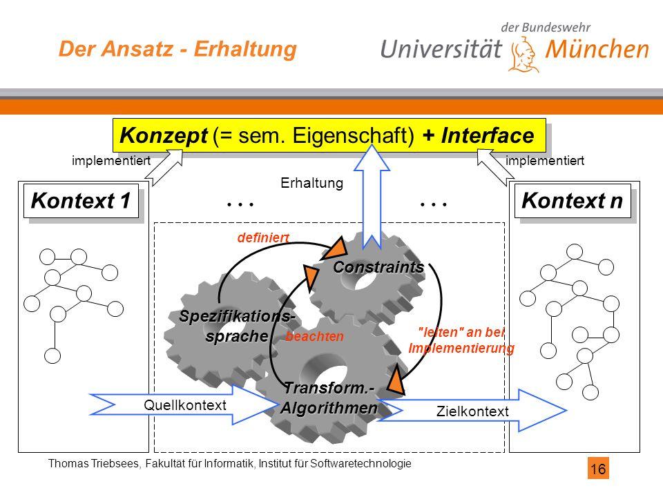 16 Thomas Triebsees, Fakultät für Informatik, Institut für Softwaretechnologie Der Ansatz - Erhaltung Spezifikations-sprache Constraints Transform.-Al