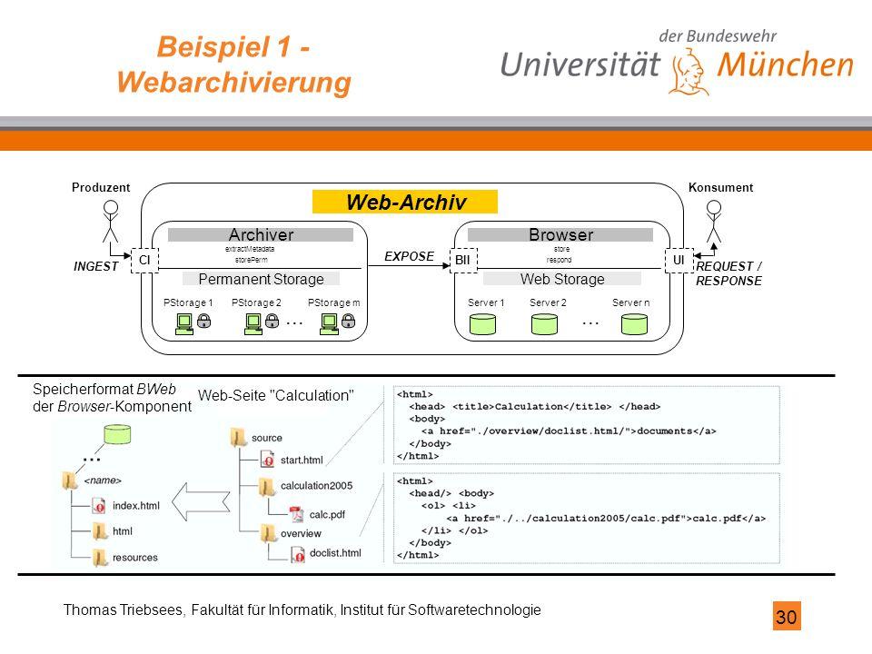 30 Thomas Triebsees, Fakultät für Informatik, Institut für Softwaretechnologie Beispiel 1 - Webarchivierung PStorage 1PStorage 2 PStorage m... Server