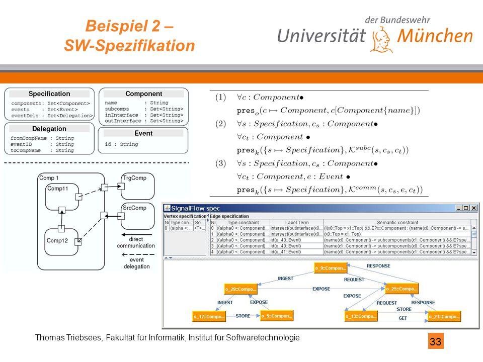 33 Thomas Triebsees, Fakultät für Informatik, Institut für Softwaretechnologie Beispiel 2 – SW-Spezifikation