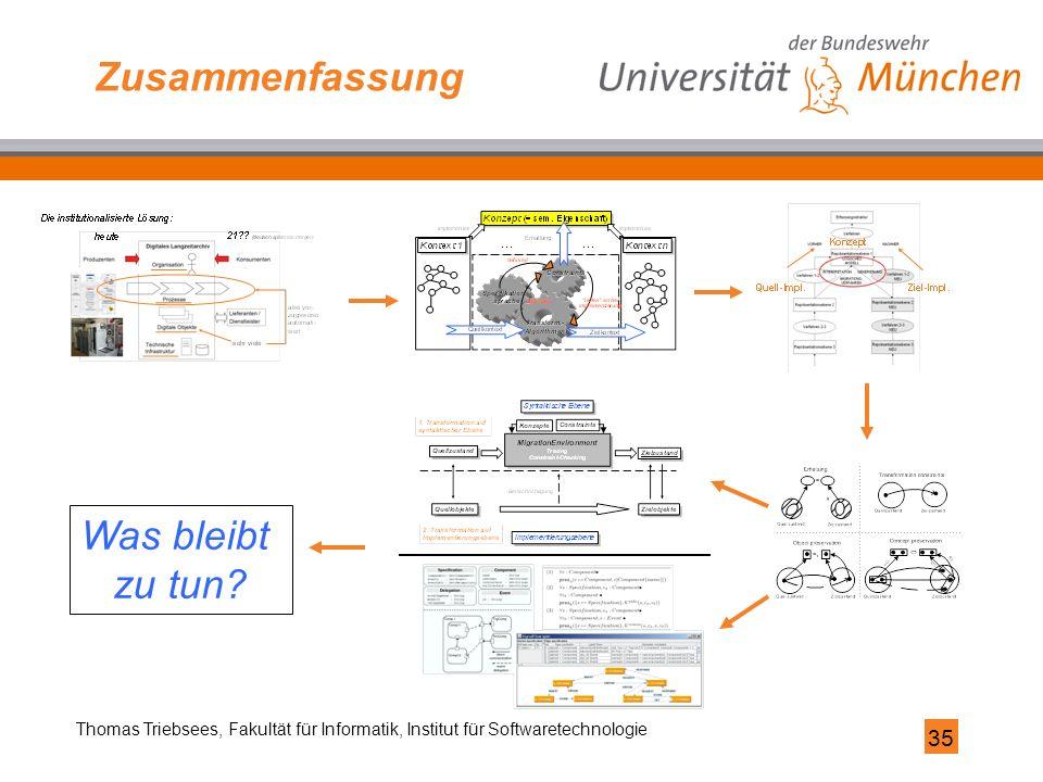 35 Thomas Triebsees, Fakultät für Informatik, Institut für Softwaretechnologie Zusammenfassung Was bleibt zu tun?