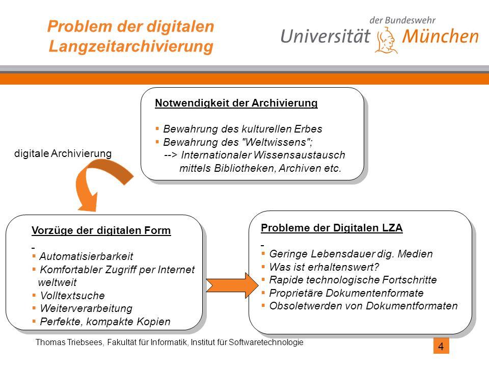 4 Thomas Triebsees, Fakultät für Informatik, Institut für Softwaretechnologie Problem der digitalen Langzeitarchivierung Vorzüge der digitalen Form 