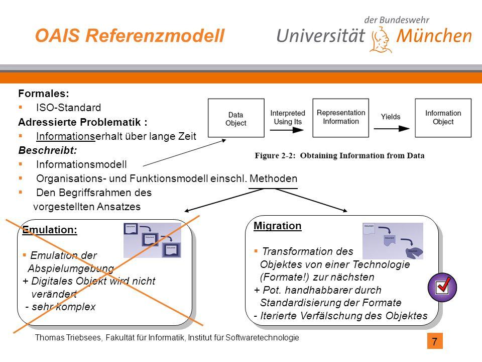 7 Thomas Triebsees, Fakultät für Informatik, Institut für Softwaretechnologie OAIS Referenzmodell Formales:  ISO-Standard Adressierte Problematik : 